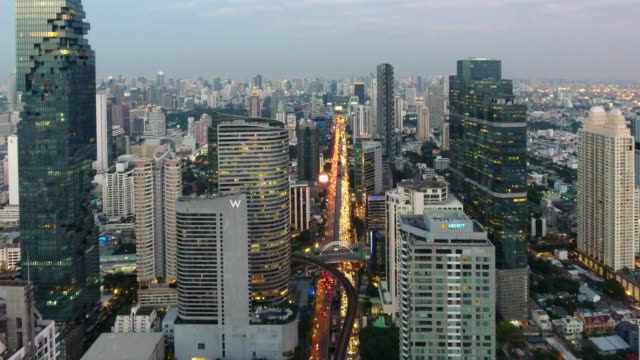 4k resolution bangkok cityscape ariel view at sunset - bangkok stock videos & royalty-free footage