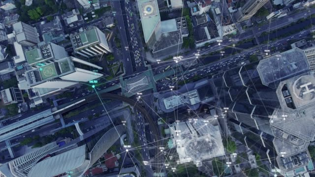 4k resolution city aerial view and data network technology,futuristic computer digital abstract - economia video stock e b–roll