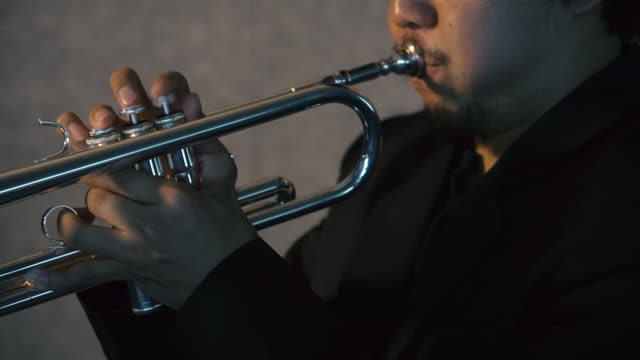 4k resolution close up trumpet player - trumpet stock videos and b-roll footage