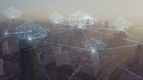 4k resolution clouds technology network connection concept on aerial view city - wireless technology stock videos & royalty-free footage