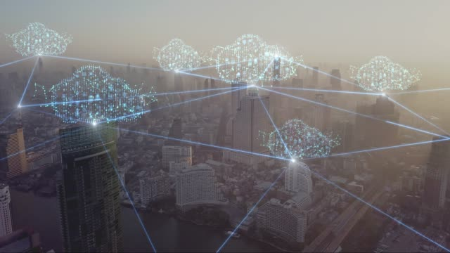 vídeos de stock e filmes b-roll de 4k resolution clouds technology network connection concept on aerial view city - network