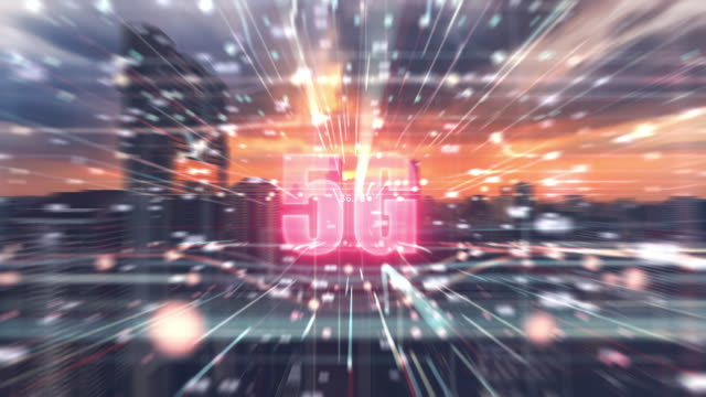 4k resolution double exposure 5G concept in cyberspace with Bangkok city time lapse