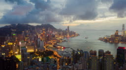 4k resolution Drone point of view hyper lapse of Hong kong city,Aerial view of victoria harbour  at night