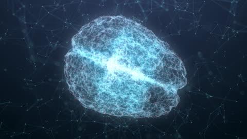 vídeos y material grabado en eventos de stock de resolución 4k diseño futurista de análisis cerebral y adn que se conecta moviéndose sobre fondo oscuro, tecnología digital y concepto de ciencia - equipo informático