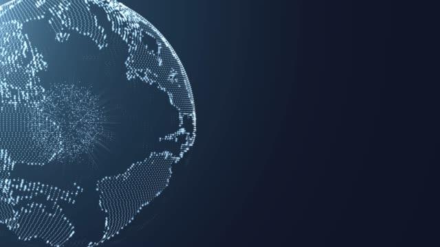 vídeos de stock, filmes e b-roll de globo de resolução 4 k formam partículas de poeira abstrato para negócios ciência ou tecnologia, globo terra futurista - complexidade