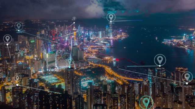 4k auflösung hong kong luftaufnahme mit datennetzverbindungstechnologie konzept. smart-city-konzept,kommunikationsnetzwerk,internet der dinge konzept - computer graphic stock-videos und b-roll-filmmaterial