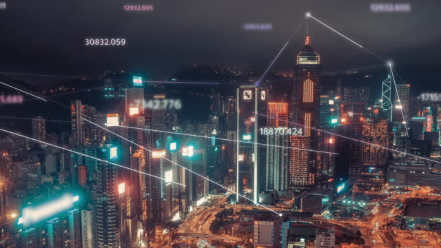 4k resolution hong kong aerial view with data network connection technology concept.smart city concept,communication network,internet of things concept - smart city stock videos & royalty-free footage