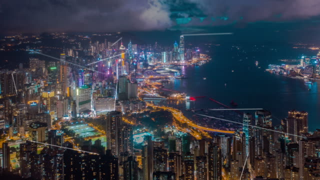 4k resolution hong kong aerial view with data network connection technology concept.smart city concept,communication network,internet of things concept - artificial intelligence stock videos & royalty-free footage