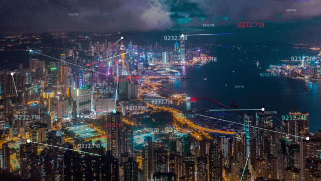 4k resolution hong kong aerial view with data network connection technology concept.smart city concept,communication network,internet of things concept - internet of things stock videos & royalty-free footage