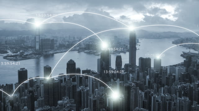 4k resolution Hong kong cityscape with network connection concept