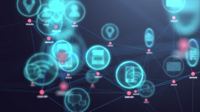 4k resolution internet of things concept,social icon connecting to dot in 3d space.information communication network.technology concept - computer software stock videos & royalty-free footage