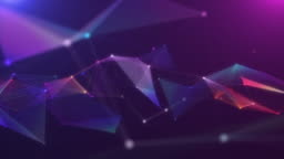 4k resolution Motion Abstract background,polygon and line connect to dot  background for Business science and Technology