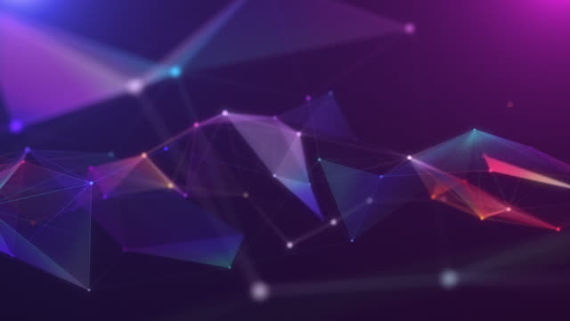 4k resolution motion abstract background,polygon and line connect to dot  background for business science and technology - two dimensional shape stock videos & royalty-free footage
