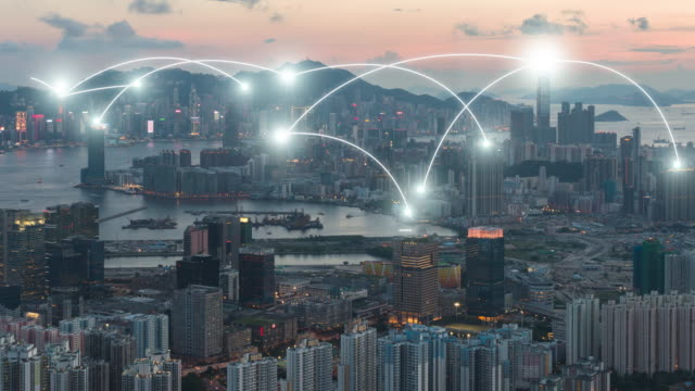 vídeos de stock e filmes b-roll de 4k resolution network connection concept with hong kong cityscape - computer network