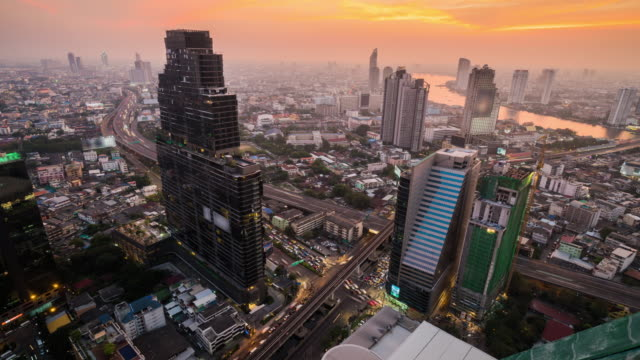 4k resolution Time lapse Bangkok cityscape of Thailand