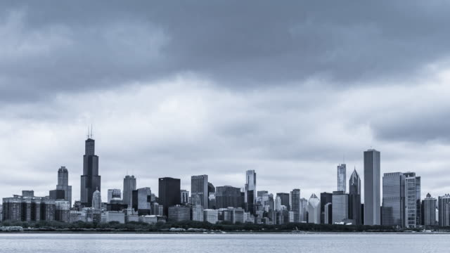 4k resolution Time Lapse Cool tone of Chicago skyline