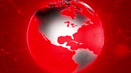 4k rotating red world map animation background breaking news