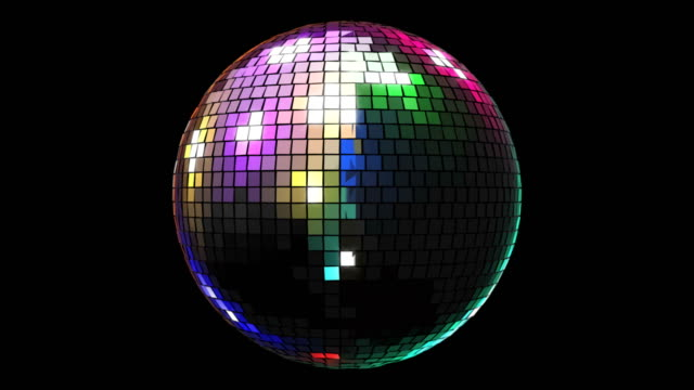 4k rotating shiny colorful light disco ball animation