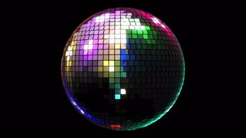 vídeos de stock, filmes e b-roll de 4k giro animação brilhante colorido luz de discoteca - discoteca