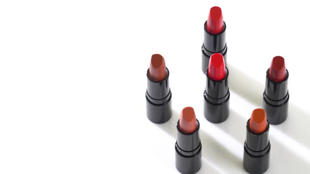 4k rotation of lipstick collection. - extreme close up stock videos & royalty-free footage