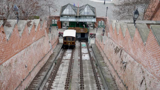 4k scene of funicular rail cars moving up and down the castle hill railway in budapest, hungary - hungary stock videos & royalty-free footage