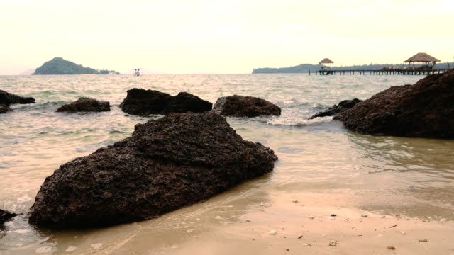 4k, sea bridge in koh mak, province trat in thailand. - trat province stock videos and b-roll footage