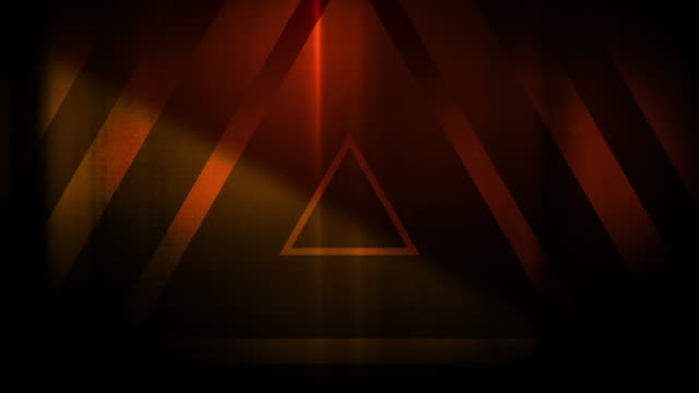 vídeos de stock, filmes e b-roll de 4k padrão sem emenda de alta contrastado bizarro e sujo triângulos laranja avermelhado túnel interminável vídeo de fundo - triângulo formato bidimensional