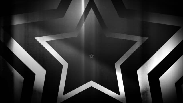 vidéos et rushes de 4k seamless pattern de haute contraste bizarre et grungy, clairsemée noir et blanc étoile forme sans fin tunnel vidéo de fond - party social event