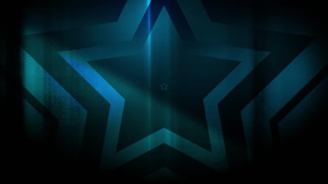 vidéos et rushes de 4k seamless pattern de haute contrastée bizarre et grungy, clairsemée lumière bleu étoile forme sans fin tunnel vidéo de fond - party social event
