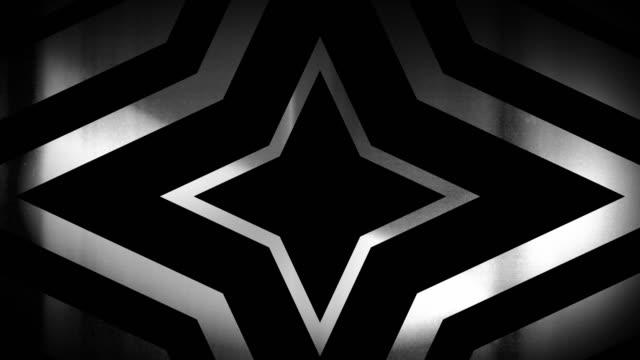 vidéos et rushes de 4k sans soudure, motif clairsemé de haute contraste bizarre et grungy, noir et blanc 4 pointes, étoile isotoxale en expansion vers la caméra sans fin tunnel vidéo de fond - party social event