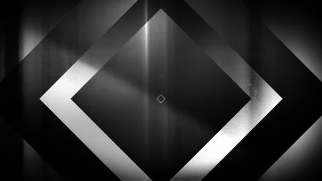 vidéos et rushes de 4k seamless, motif clairsemé de haute contraste bizarre et grungy, noir et blanc forme de rectangle en expansion vers la caméra sans fin tunnel vidéo de fond - party social event