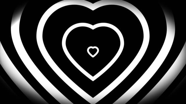 4k seamless, sparse pattern of high contrasted bizarre and grungy, black and white heart shape expanding toward camera endless tunnel background video - seamless pattern stock videos & royalty-free footage