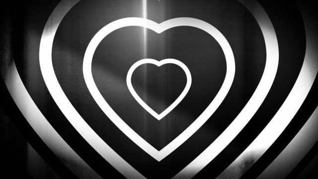 4k seamless, sparse pattern of high contrasted bizarre and grungy, black and white heart shape expanding toward camera endless tunnel background video - music style stock videos and b-roll footage