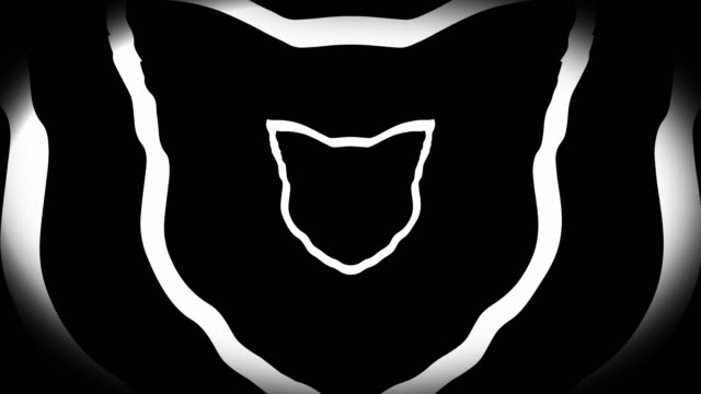 4k seamless, sparse pattern of high contrasted bizarre and grungy, black and white cat head shape expanding toward camera endless tunnel background video - music style stock videos and b-roll footage