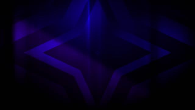 vidéos et rushes de 4k sans soudure, motif clairsemé de haut contrasté bizarre et grungy, bleu violet 4 pointes, étoile isotoxale expansion vers la caméra sans fin tunnel vidéo de fond - party social event