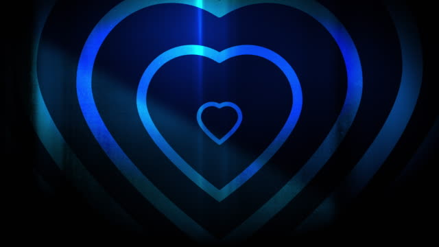 4k seamless, sparse pattern of high contrasted bizarre and grungy, blue heart shape expanding toward camera endless tunnel background video - seamless pattern stock videos & royalty-free footage