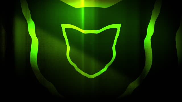 4k seamless, sparse pattern of high contrasted bizarre and grungy, green cat head shape expanding toward camera endless tunnel background video - music style stock videos and b-roll footage