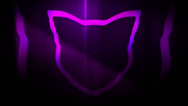 4k seamless, sparse pattern of high contrasted bizarre and grungy, purple cat head shape expanding toward camera endless tunnel background video - music style stock videos and b-roll footage