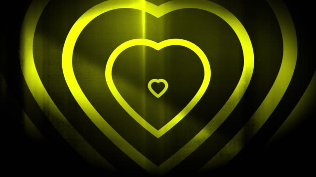 4k seamless, sparse pattern of high contrasted bizarre and grungy, lime green heart shape expanding toward camera endless tunnel background video - music style stock videos and b-roll footage