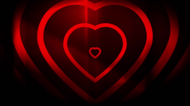 4k seamless, sparse pattern of high contrasted bizarre and grungy, red heart shape expanding toward camera endless tunnel background video - music style stock videos and b-roll footage