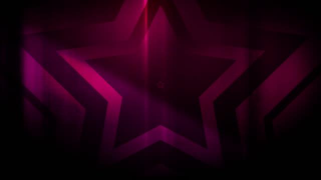 vidéos et rushes de 4k sans soudure, motif clairsemé de haute contraste bizarre et grungy, rouge magenta étoile forme sans fin tunnel vidéo de fond - party social event