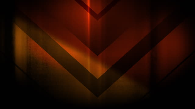 4k seamless, sparse pattern of high contrasted bizarre and grungy, sparse orange arrow shape pointing down endless tunnel background video - arrow symbol stock videos & royalty-free footage