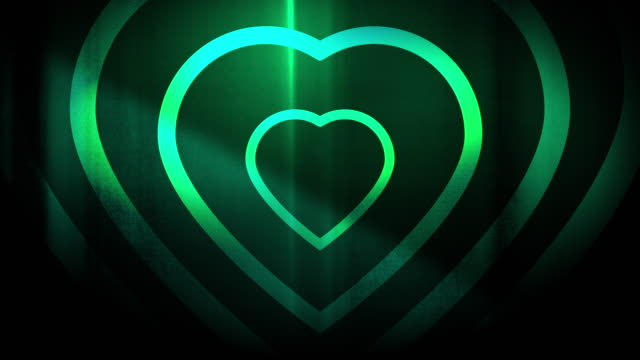 4k seamless, sparse pattern of high contrasted bizarre and grungy, forest green heart shape expanding toward camera endless tunnel background video - music style stock videos and b-roll footage