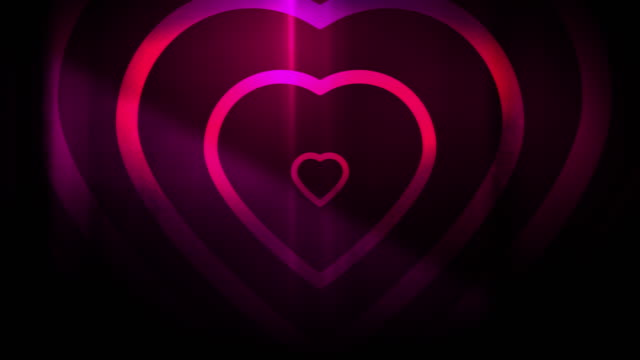 4k seamless, sparse pattern of high contrasted bizarre and grungy, magenta heart shape expanding toward camera endless tunnel background video - music style stock videos and b-roll footage