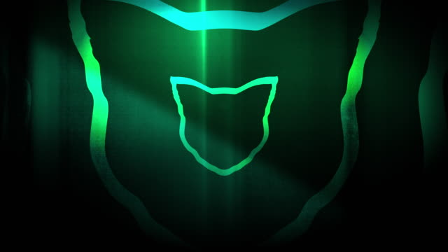 4k seamless, sparse pattern of high contrasted bizarre and grungy, forest green cat head shape expanding toward camera endless tunnel background video - music style stock videos and b-roll footage