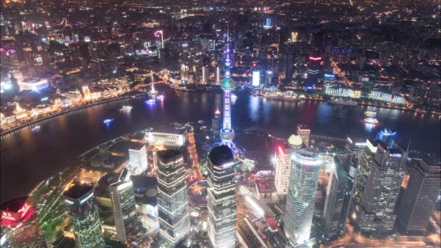 vídeos de stock, filmes e b-roll de 4k shanghai cityscape time lapse - torre oriental pearl