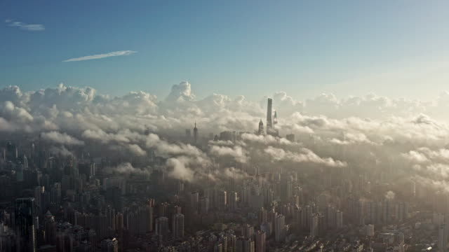 stockvideo's en b-roll-footage met 4k : shanghai financial district in fog - financieel district