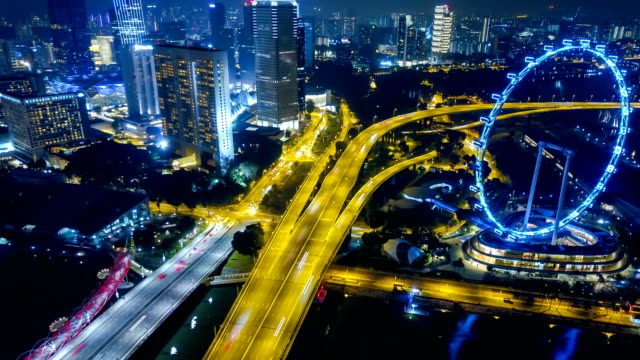 4k Singapore Aerial Panorama view at Night time-lapse