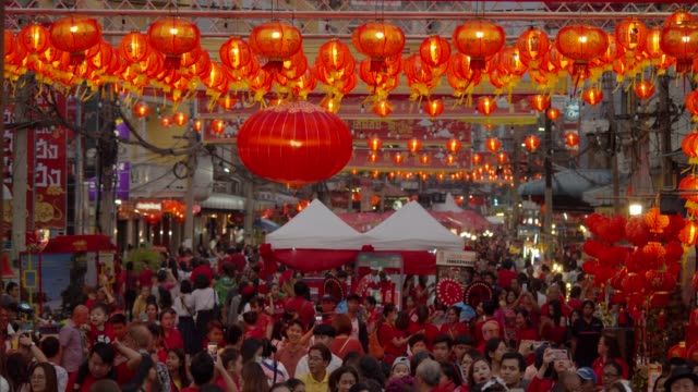4k slowmotion.chinese lanterns and dragon dance on chinese new year. - chinese new year stock videos & royalty-free footage