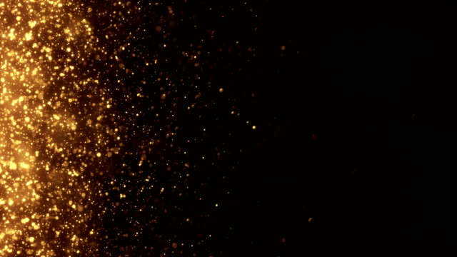 vídeos de stock e filmes b-roll de 4k small gold particles horizontal movement - background animation - loopable - dourado cores